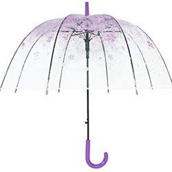 Parapluie Demi Automatique Transparent Sakura | Fleur Bubble Forme du Dôme Parap