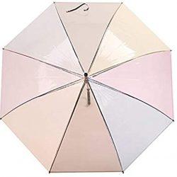 Parapluie 1pcs en Plastique 8 Nervures à Long Manche Arc|en|Ciel Transparent Plu