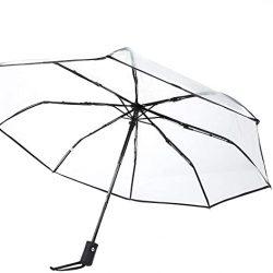 Parapluie Cafopgrill Transparent de Pluie, Portable Trois Plis de Voyage Paraplu