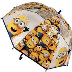 Parapluie Cloche Transparent Minions | Canne Large pour Enfants, 45 cm,