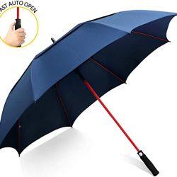 Parapluie Homme Grand Golf Automatique 158cm Double Canne, Anti UV, Solide p