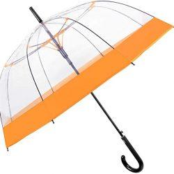 Parapluie Cloche Transparent Canne Femme avec Bordure Coloré | Résistant au Vent