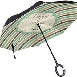 Parapluie Homme rétro à Rayures Arc|en|Ciel pour la fête des pères avec poignée en For