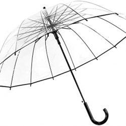 Parapluie Haute Qualité Grand Manche Long 16 Côtes Transparent Mâle Femelle Plui