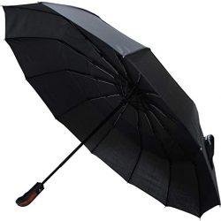 Parapluie Homme Rare | 12 Baleines 80KPH | Robuste | Renforcé avec Fibre de Verre | Toile aérée,