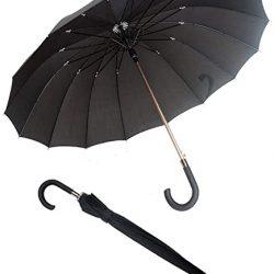 Parapluie Homme Canne Noir Unisexe et Femme | Grand de 114CM de Diamèt