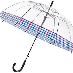 Parapluie Cloche Transparent e | Bordure à carreaux vichy