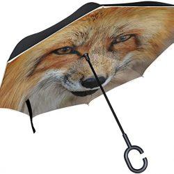 Parapluie Tikismile inversé en forme de renard coupe-vent et protection UV pour