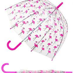 Parapluie Cloche Transparent long | enfant | Flamants roses