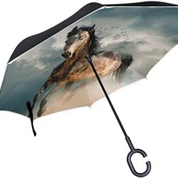 Parapluie XiangHeFu Double Couche inversé inversé parapluies Animaux Courant Cheval poussi