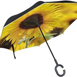 Parapluie Tikismile inversé en forme de tournesol avec poignée en forme de C