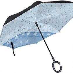 Parapluie Tikismile inversé en forme de C avec motif fleur Bleu