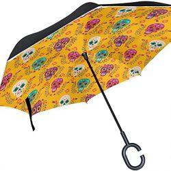 Parapluie Tikismile inversé avec motif de crâne – Coupe-vent – Protection UV pou