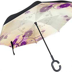 Parapluie Tikismile inversé avec motif fleur violette et coupe-vent, protection