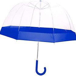 Parapluie 36|1E|004B Enfant Cloche Transparent liseré bleu Poignée ergonomique P