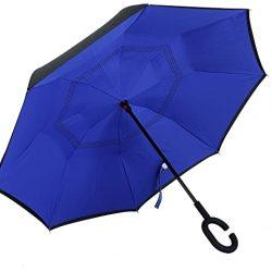 Parapluie TRADE® inversé, de voyage bleu avec 8 côtes de fibres Protec