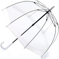 Parapluie Femme Birdcage | 1 clairement en forme de dôme avec une bordure blanche