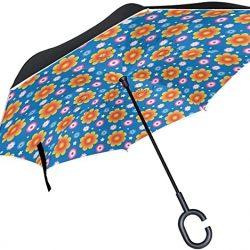 Parapluie Tikismile inversé à motif fleurs d'été – Coupe-vent – Protection UV –