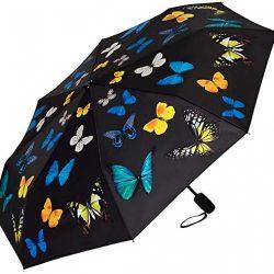 Parapluie Femme Automatique Pliant Légèrement Stable Motif Danse des Papillons