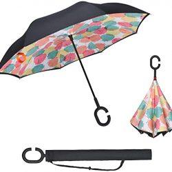 Parapluie Vicloon Inversé, Mains Libres poignée en Forme C Parapluie,Anti-UV Dou