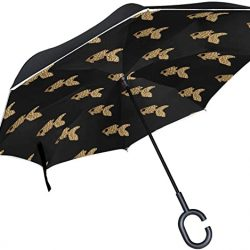 Parapluie Double Couche inversé parapluies d'or Poissons Motif Transparente Pliant Paraplu