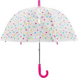Parapluie Cloche Transparent Dome Rose Pois Multicolores Fille, Balein