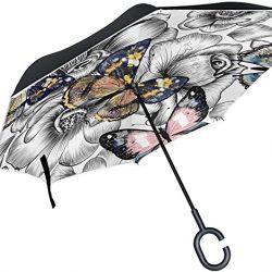 Parapluie double couche inversé parapluies Motif floral transparente avec des papillons pl