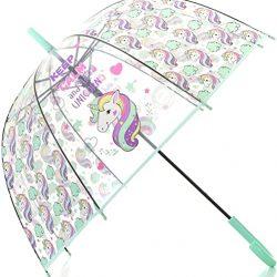 Parapluie Cloche Transparent Licorne Enfant | Solide et Coupe Vent | Ouverture A