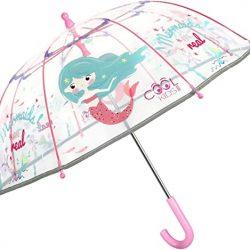 Parapluie Cloche Transparent Petite Sirène Rose pour Enfants | Réfléch