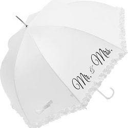 Parapluie Cloche Transparent Blanc Mr & Mrs, Ouverture Automatique, Raffiné pour M