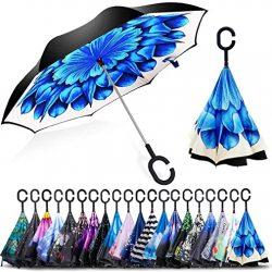 Parapluie ZOMAKE Inversé,Canne,Double Couche Coupe-Vent, Mains Libres
