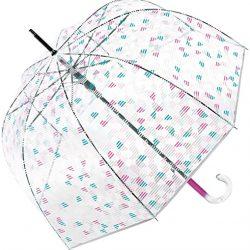 Parapluie Esprit | cloche transparente à motifs géométriques roses
