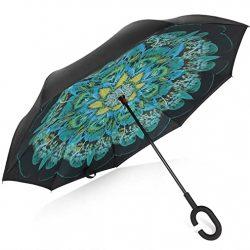 Parapluie TRADE® inversé Double Couche Peacock Plumes Autonome Mains Libres Rési