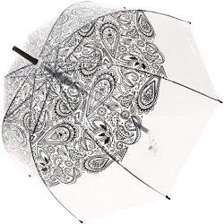 Parapluie Cloche Transparent SMATI Paisley Noir