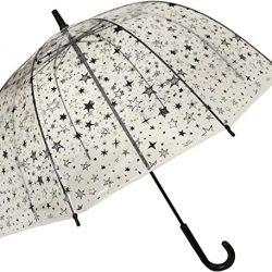 Parapluie Cloche Transparent Enfant Fille étoiles en Fibre