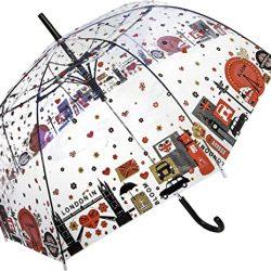 Parapluie Cloche Transparent Dôme avec Imprime Monuments Londres | Système d'Ouv